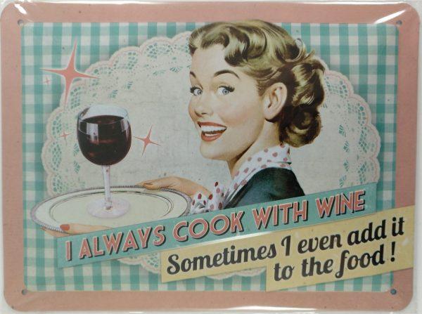 Cartel siempre cocino con vino scaled e1606135977376