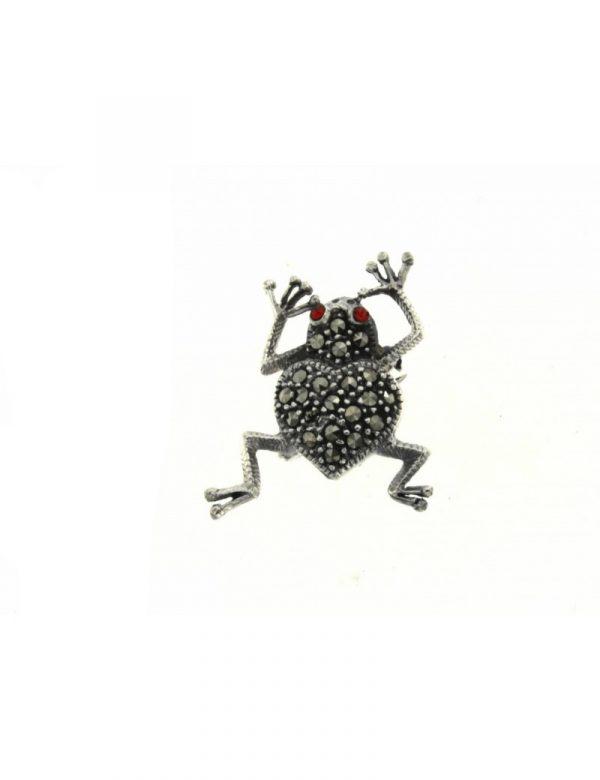 broche plata marcasitas rana 25x20 1