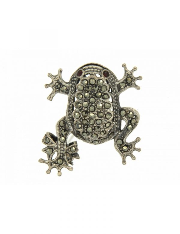 broche plata marcasitas rana 40x33 1